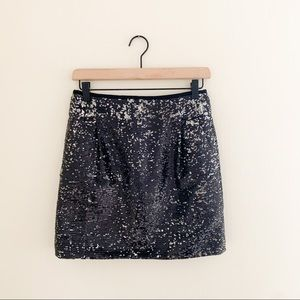 J. Crew Black Sequin Party Mini Skirt with Pockets